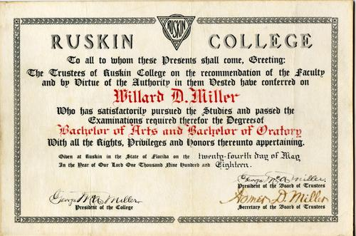 1918 WD Miller Ruskin College Degree